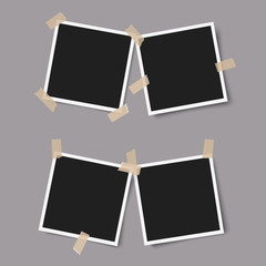 Realistic photo frames with shadows with adhesive tape on grey