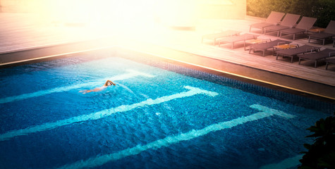 Athlete with swimming pool
