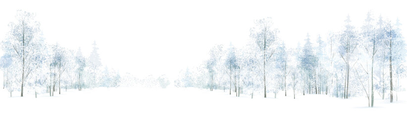 Vector winter  forest background, isolated on white. Fotoväggar