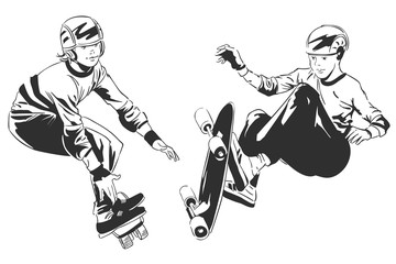 Stock illustration. Skater on action.