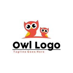 Unique owl logo with minimalist shapes and colors