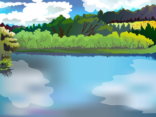 Landscape of the forest and the river. Image vector nature, forest, lake, against the blue sky.