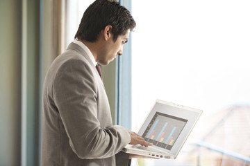 Young male executive using laptop for business purpose