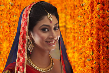 Portrait of a beautiful bride smiling