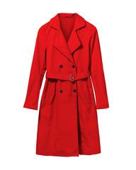 Red elegant woman autumn coat isolated white