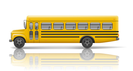 Yellow school bus. Transportation and vehicle transport, travel automobile. Relistic school bus mockup. Vector illustration