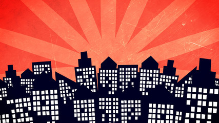 cartoon city buildings