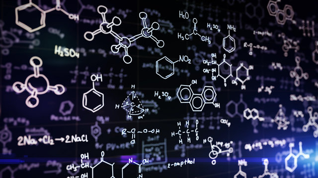 Chemical formulas on blue