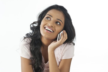 Woman talking on a mobile phone