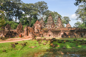 Banteay Srei temple Khmer architecture in siem reap .Banteay Srei is one of the most popular ancient temples in Siem Reap, Banteay Srei, known for its beautiful carvings on red sandstone Cambodia