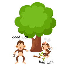 Opposite good luck and bad luck illustration