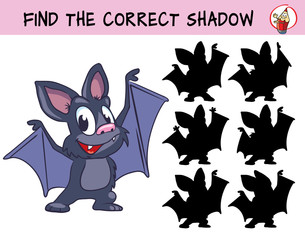 Funny little bat. Find the correct shadow. Educational game for children. Cartoon vector illustration