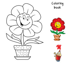 Funny smiling flower in a flowerpot. Coloring book. Cartoon vector illustration