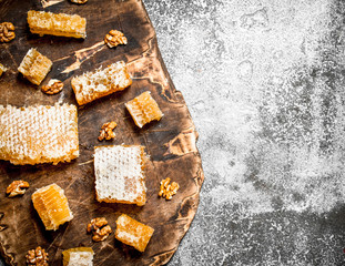 Wall Mural - Fresh honeycomb with nuts.