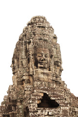 Giant stone face in Prasat Bayon Temple, Angkor Wat complex, Cambodia