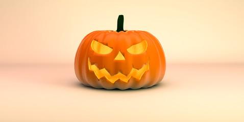 Böser Halloween Kürbis vor herbstlichem Hintergrund