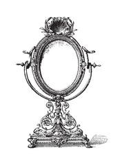 Old mirror - vintage illustration