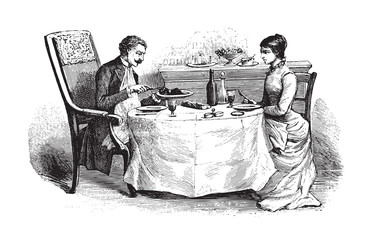 Woman and Man on dining table - vintage illustration