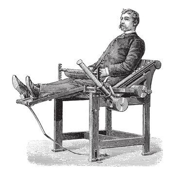 Old fitness equipment - vintage illustration