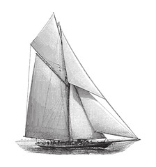 Old sailing boat - vintage illustration