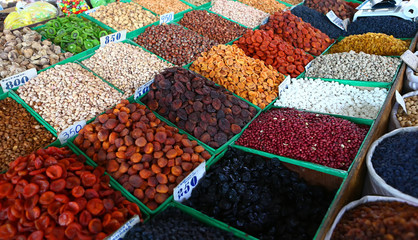 Market with nuts and dried fruits