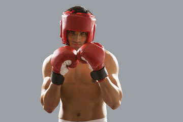 Portrait of young male boxer wearing gloves and head protector isolated over gray background