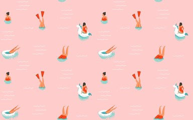 Hand drawn vector abstract cartoon summer time fun illustration seamless pattern with swimming people isolated on pink background