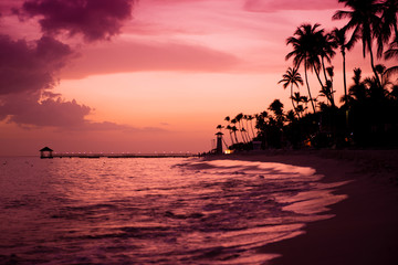 Sunset on the coast of the Caribbean Sea. Dominican sunset.