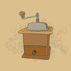 Coffee grinder freehand pencil drawing
