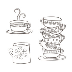 Set of cups and mug. Vector illustration.