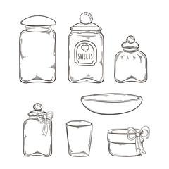 Big set of handdrawn glass jars.