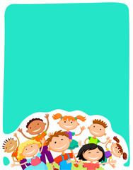 Vector Background Blank With Kids Summer Camp