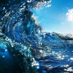 shorebreak with swirled ocean wave