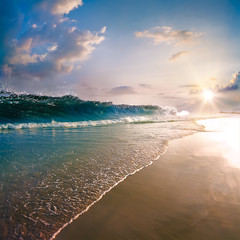 Shoreline on tropical beach