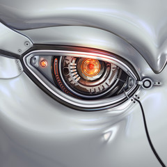 Futuristic bright cyber eye with computer digits shining closeup as a part of mechanical metal robot's face