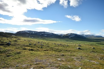 Lapland landscape with mountains, Malla National Reserve