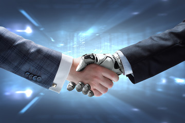 Business man and robot handshake against shining digital background