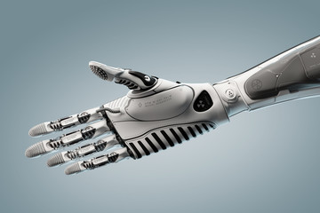 Futuristic robotic arm in virtual space