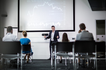 Businessman leading a training conference