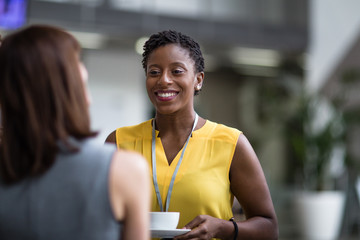 Female business executives meeting at a networking event