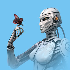 butterfly sitting on Robot finger. Cybernetic organism observing nature