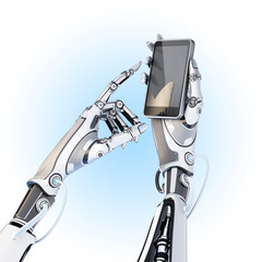 Futuristic robot holding glossy smartphone with artifical hand and touching it by finger isolated on white background