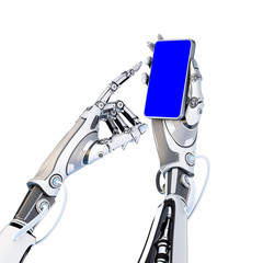 Futuristic robot holding glossy smartphone with artifical hand and touching it by finger isolated on white background. Screen mask included to easy cut out