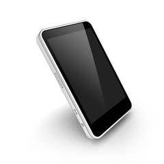 Modern Mobile smartphone with black blank screen isolated on a white background.