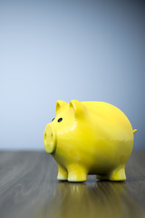 yellow piggy bank background