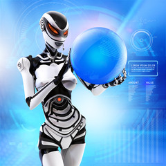 Fembot robot holding globe in mechanical arms