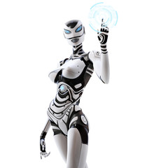 Female robot pointing symbols on digital virtual hood