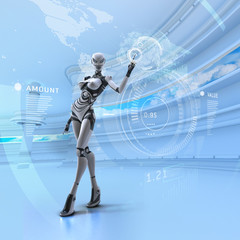 Female robot in futuristic digital office room