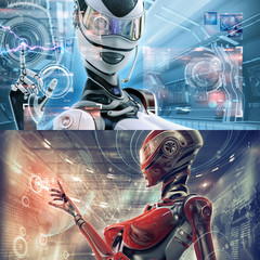 Set template of two. Modern designed datacenter. Futuristic female android managing virtual interface in digital space
