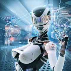 Modern designed space. Futuristic female android managing virtual interface in digital space